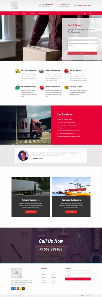 Bensons Movers Same Day Webpage Project